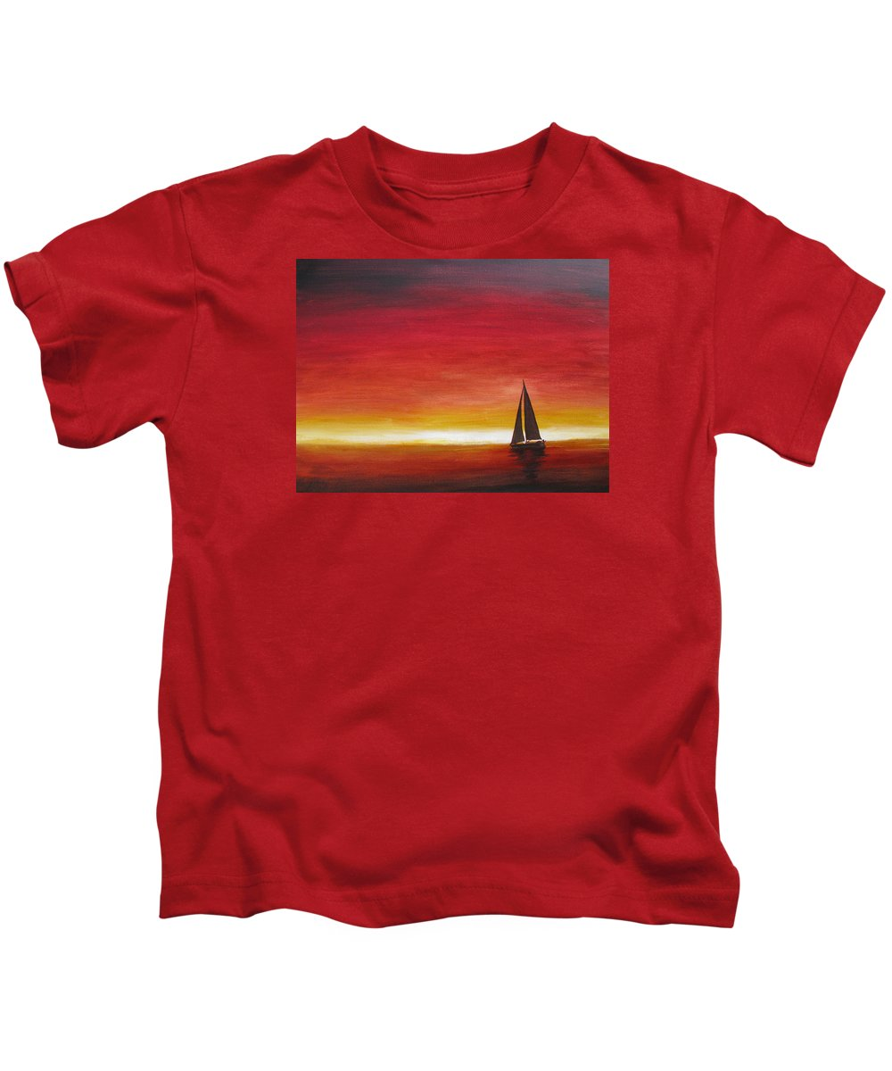 Sunset Kids T-Shirt featuring the painting Sailors Delight by Karen Stark