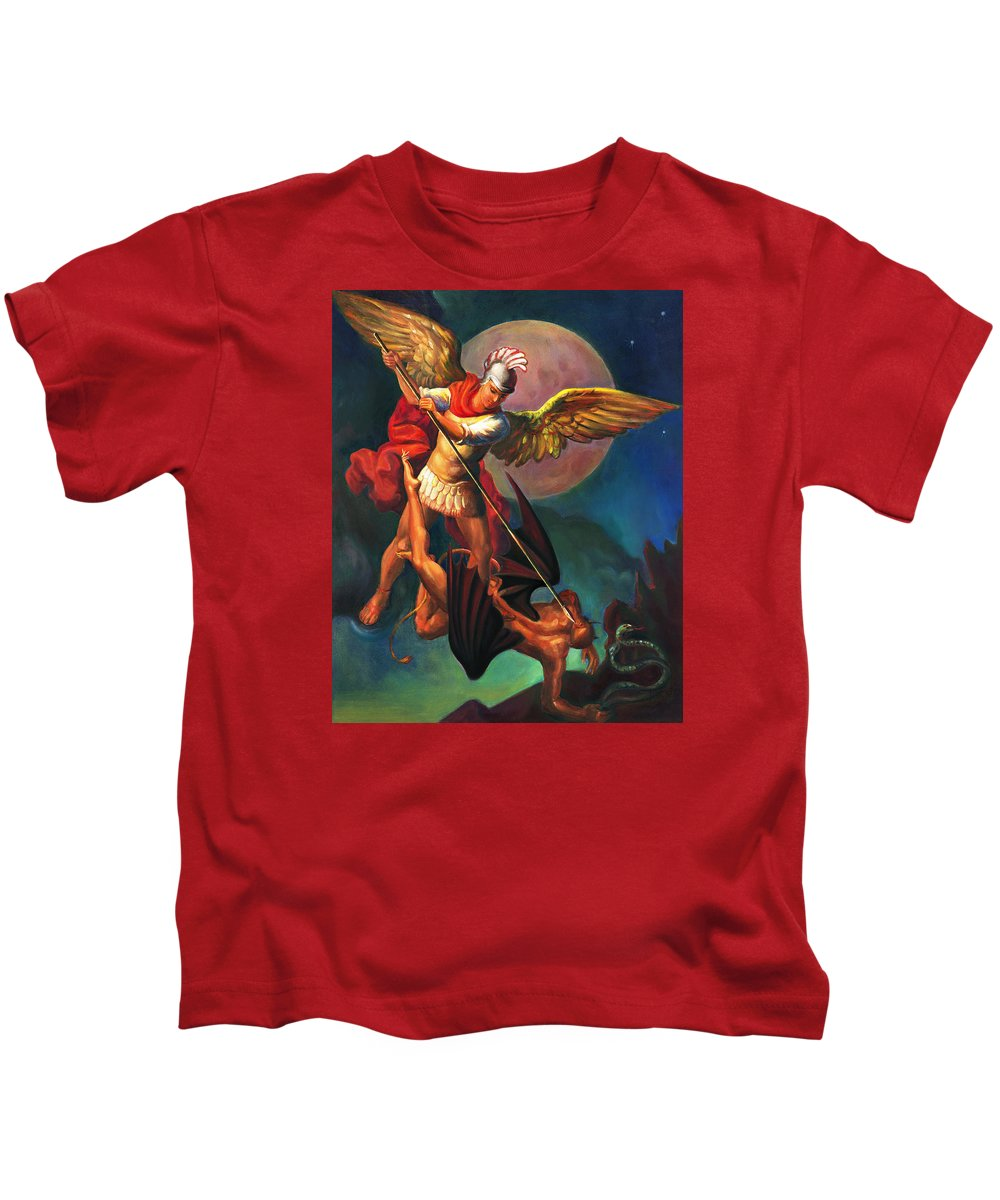 Bible Kids T-Shirt featuring the painting Saint Michael The Warrior Archangel by Svitozar Nenyuk