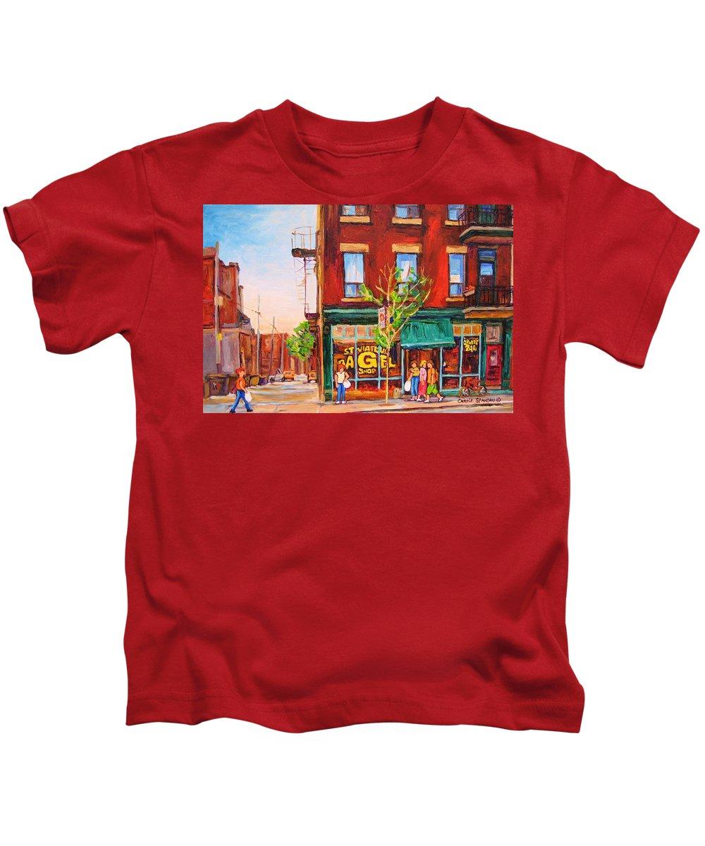 Montreal Kids T-Shirt featuring the painting Saint Viateur Bagel by Carole Spandau
