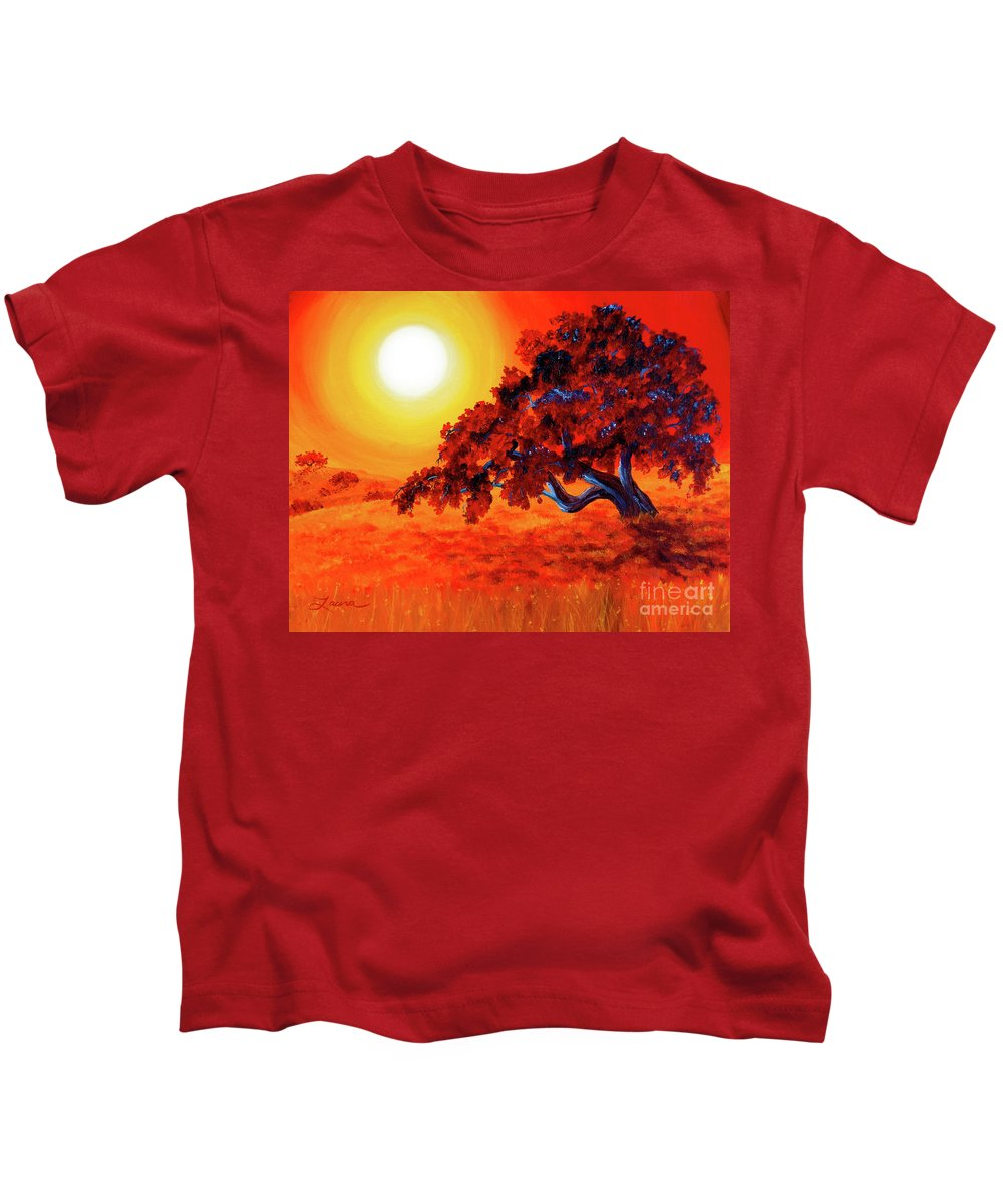 Painting Kids T-Shirt featuring the painting San Mateo Oak In Bright Sunset by Laura Iverson