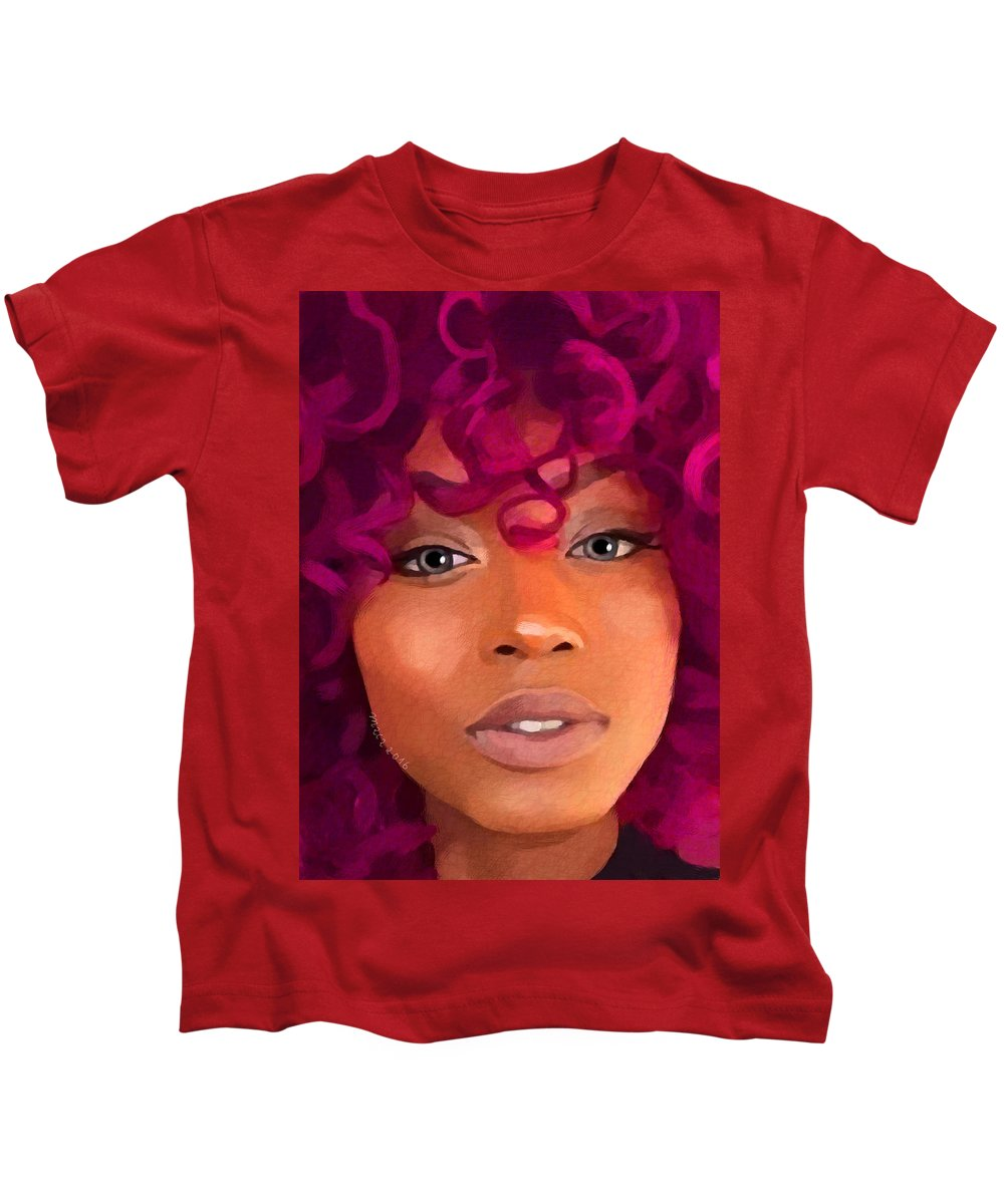 Goddess Kids T-Shirt featuring the painting Santia New Color by Maciej Mackiewicz