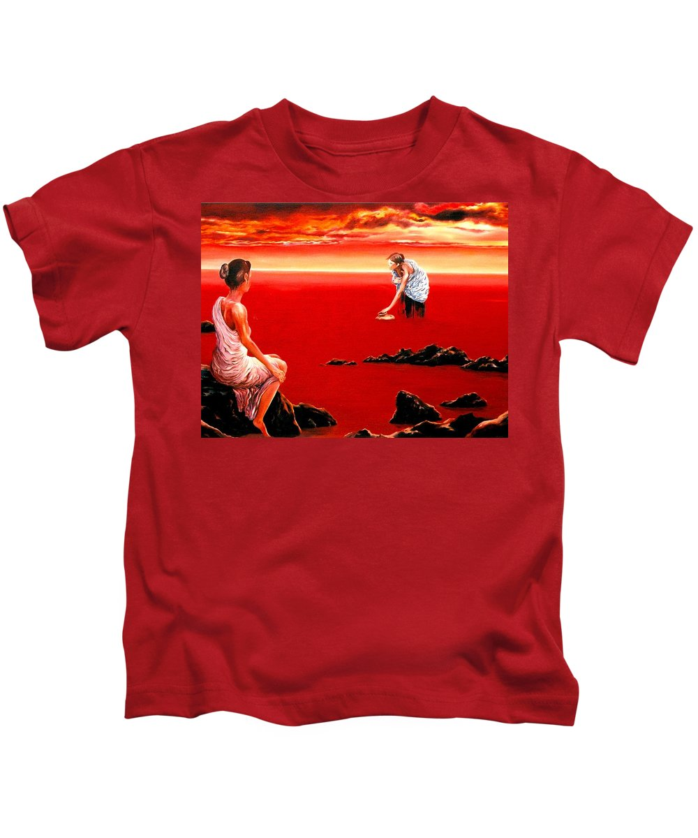 Red Kids T-Shirt featuring the painting Scarlet Evening In December by Mark Cawood