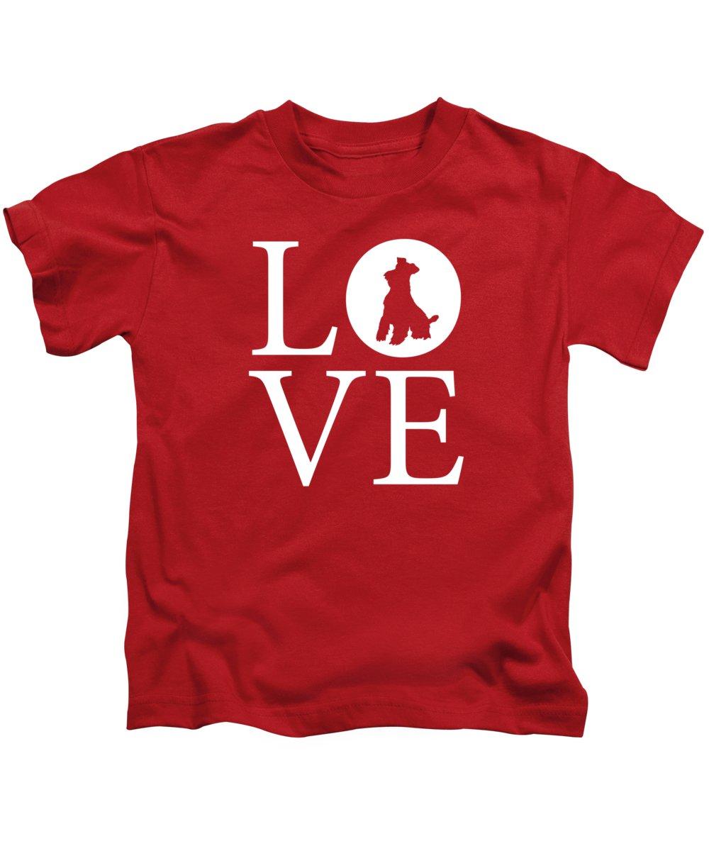 Schnauzer Love Kids T-Shirt featuring the digital art Schnauzer Love Red by Nancy Ingersoll
