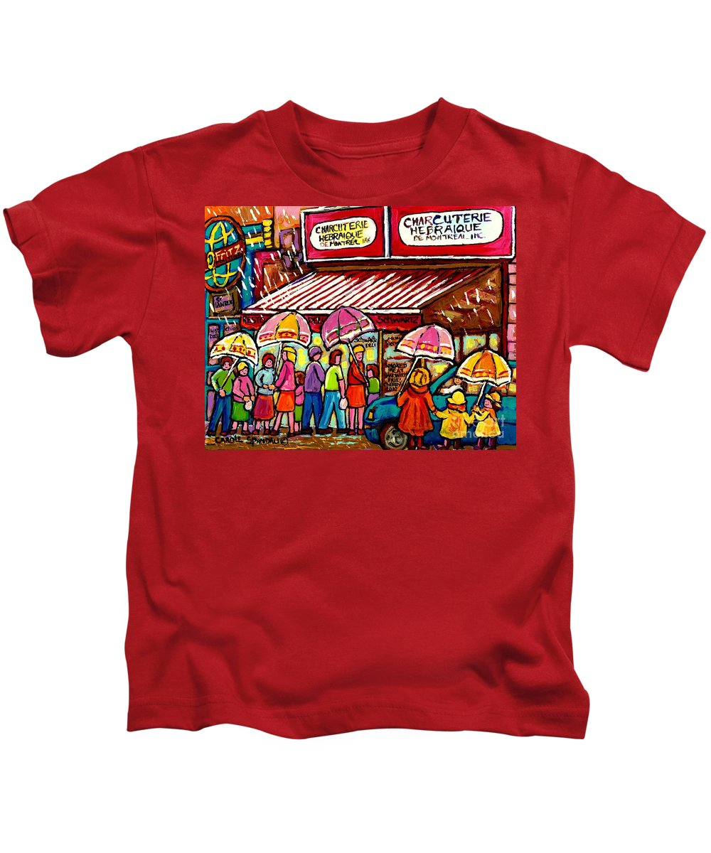 Schwartz The Musical Montreal Kids T-Shirt featuring the painting Schwartz's Deli Rainy Day Line-up Umbrella Paintings Montreal Memories April Showers Carole Spandau by Carole Spandau