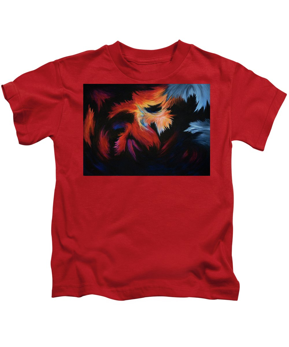 Abstract Kids T-Shirt featuring the painting Seizure by Rachel Christine Nowicki