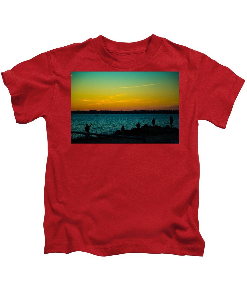 Selfie Kids T-Shirt featuring the photograph Selfie Sunset by Robert Rotkowitz