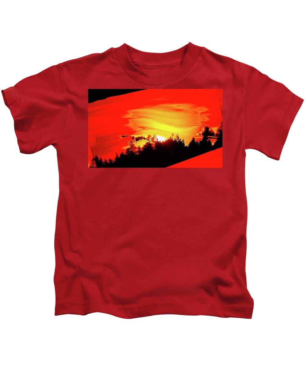 Sunset Kids T-Shirt featuring the photograph Settling Fire by Jeff Swan