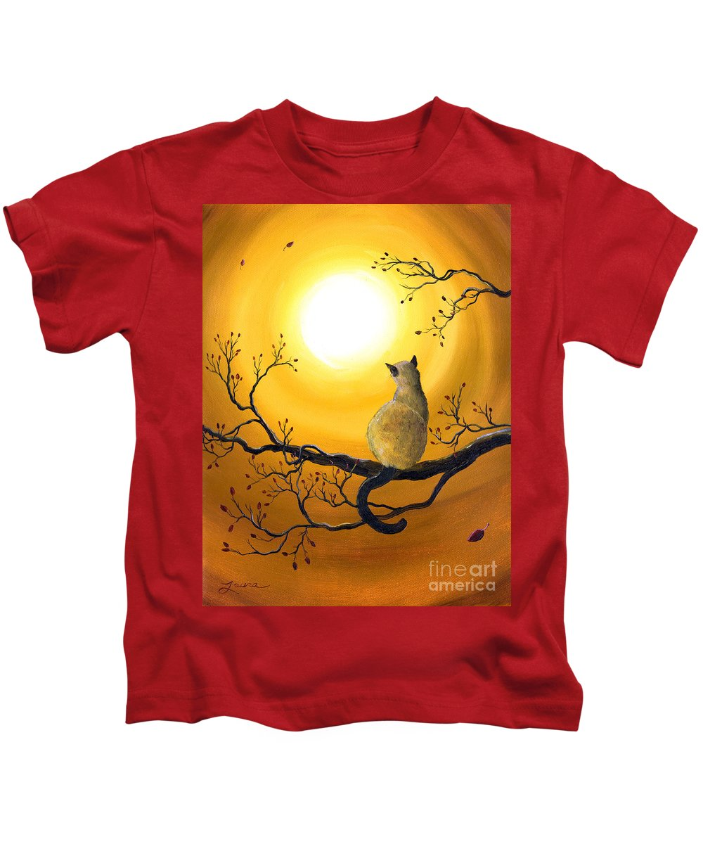 Zen Kids T-Shirt featuring the painting Siamese Cat In Autumn Glow by Laura Iverson