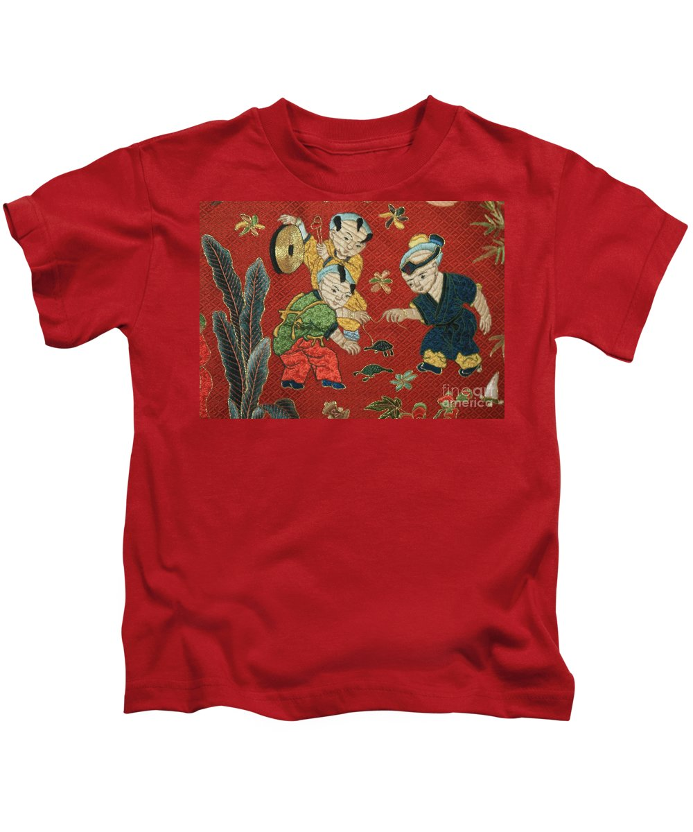 Children Playing Kids T-Shirt featuring the photograph Silk Robe - Children Playing with Turtle by Carol Groenen
