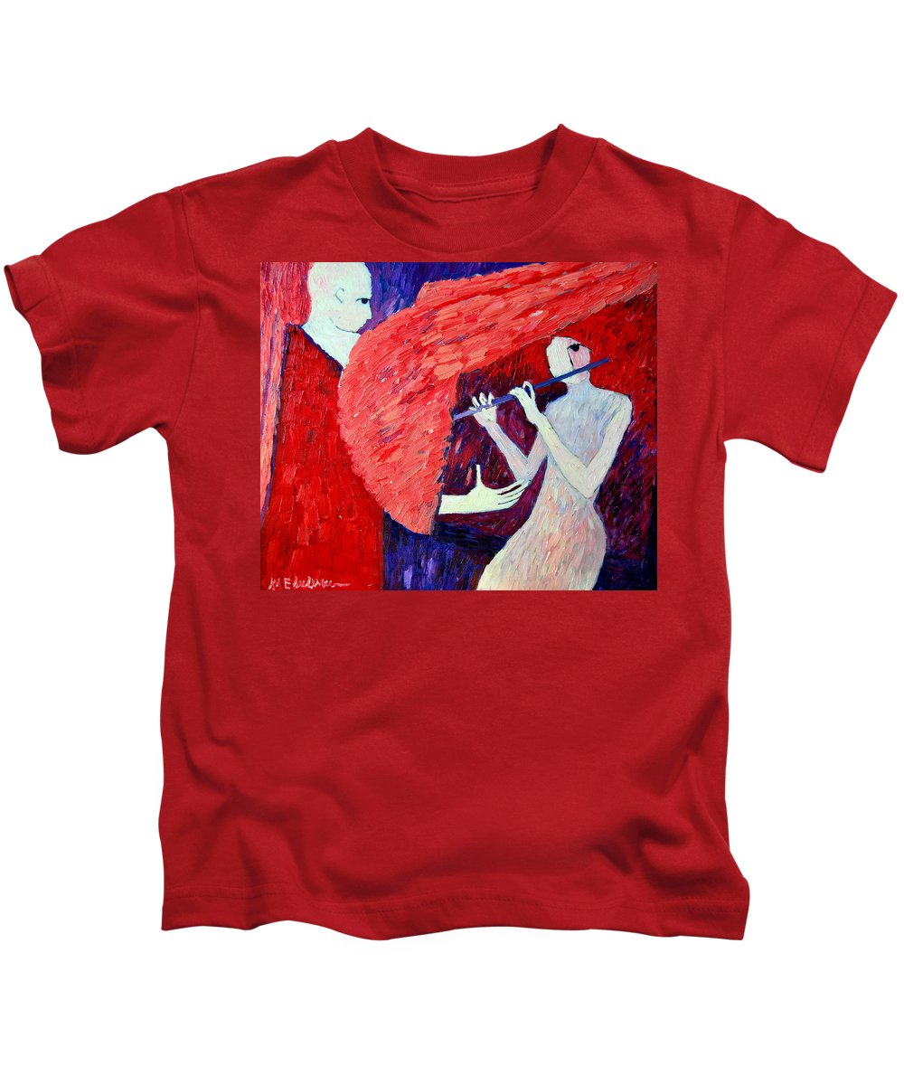 Angel Kids T-Shirt featuring the painting Singing To My Angel 1 by Ana Maria Edulescu