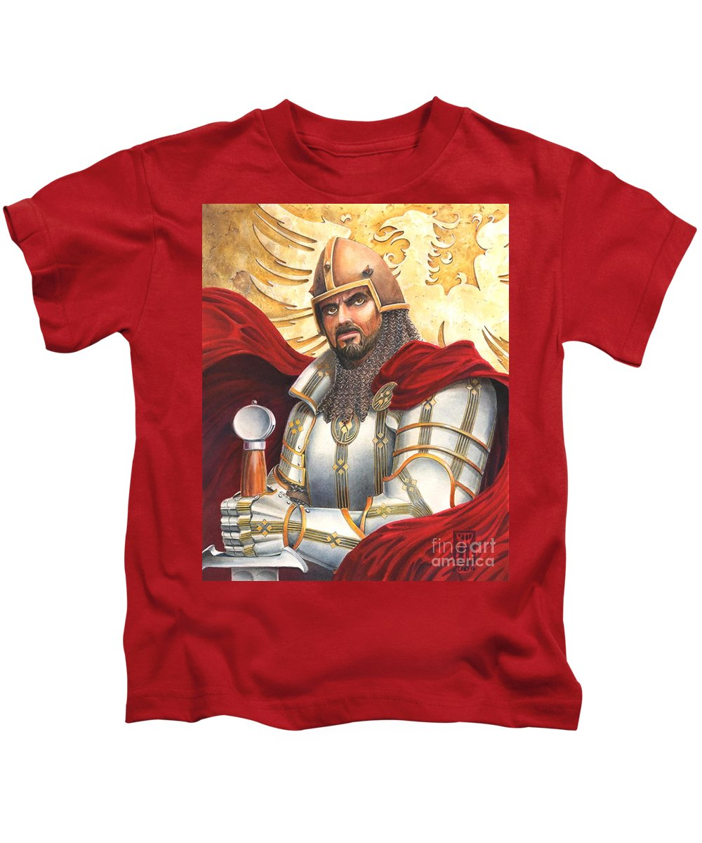Swords Kids T-Shirt featuring the drawing Sir Gawain by Melissa A Benson