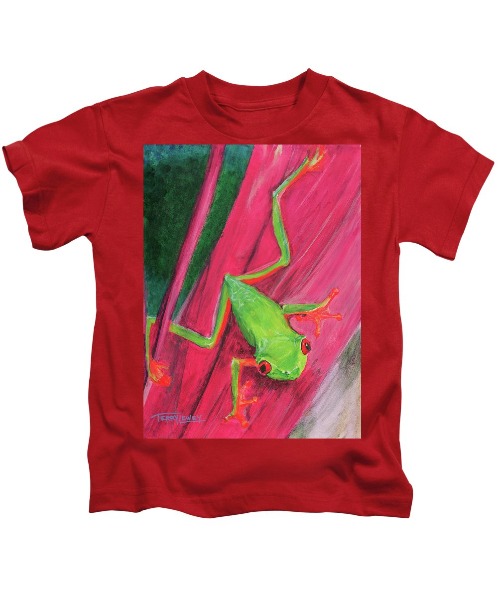 Frog Kids T-Shirt featuring the painting Small Frog by Terry Lewey