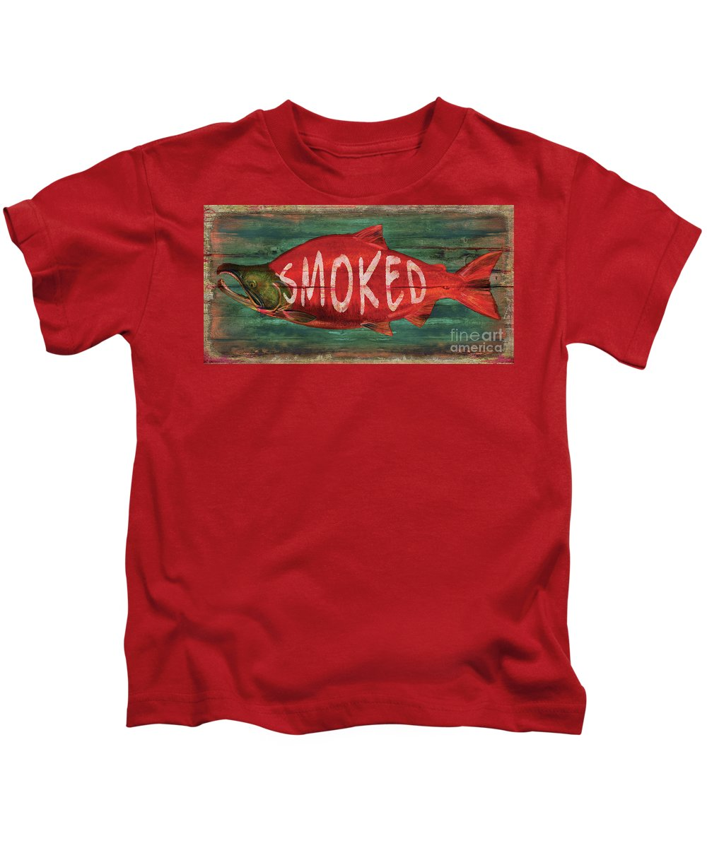Jq Licensing Kids T-Shirt featuring the painting Smoked Fish by Joe Low
