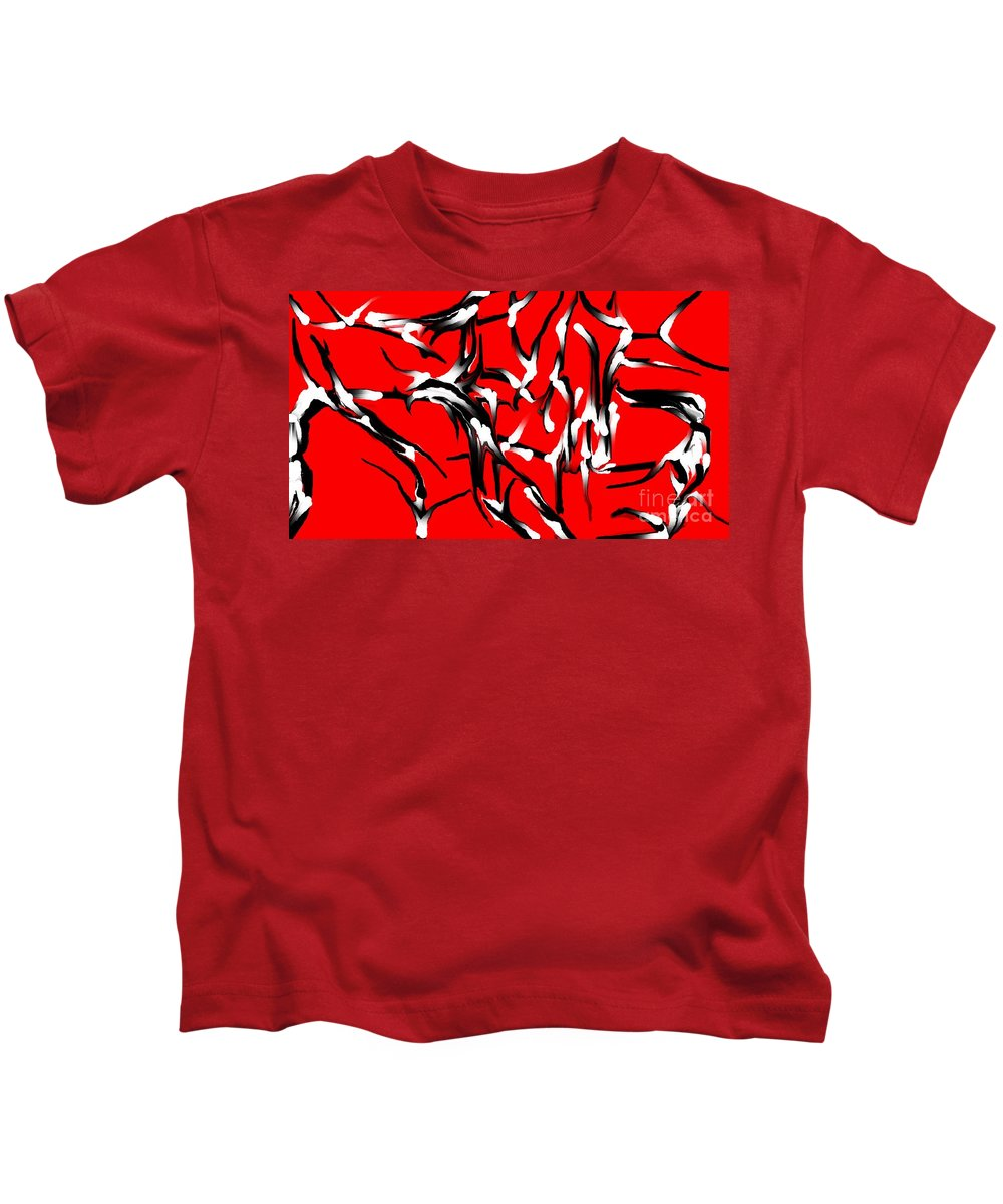 Abstract Kids T-Shirt featuring the digital art Snoopys Dance by David Lane