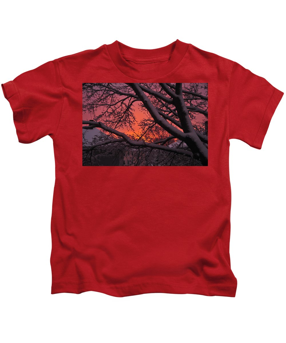Sunset Over Fresh Snow Quincy Ma Kids T-Shirt featuring the photograph Snow Covered Branches At Sunset by Bill Driscoll