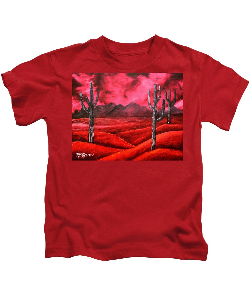 Red Kids T-Shirt featuring the painting Southwestern Abstract Oil Painting by Derek Mccrea
