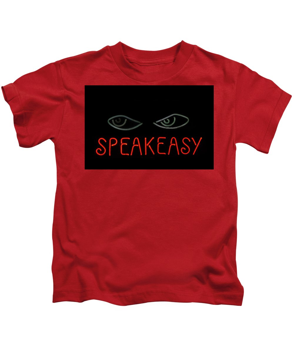 Sign Kids T-Shirt featuring the photograph Speakeasy by Joie Cameron-Brown