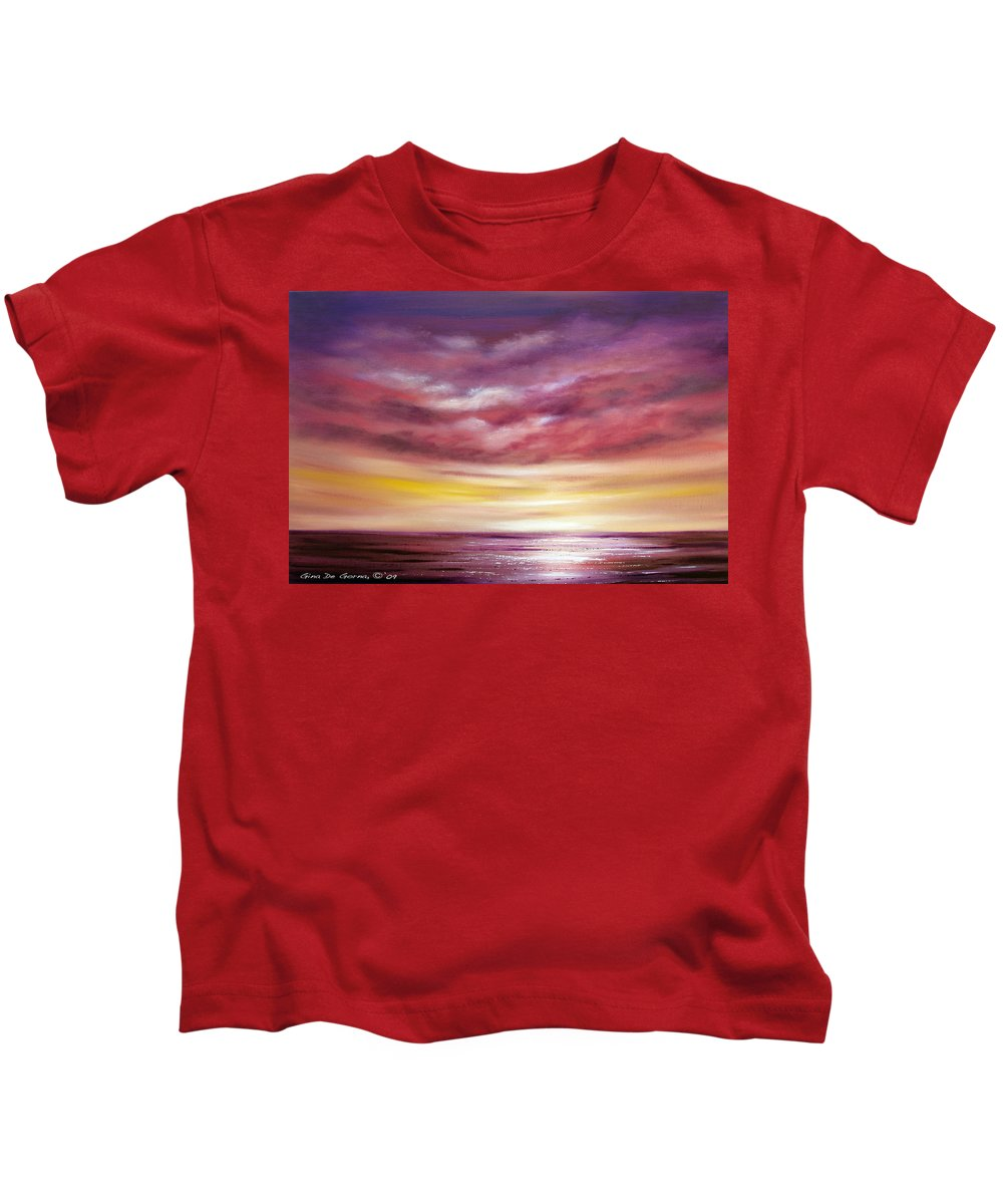 Sunset Kids T-Shirt featuring the painting Splendid by Gina De Gorna