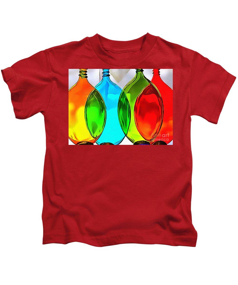 Spoon Bottles-rainbow Theme Kids T-Shirt featuring the painting Spoon Bottles-rainbow Theme by Catherine Lott