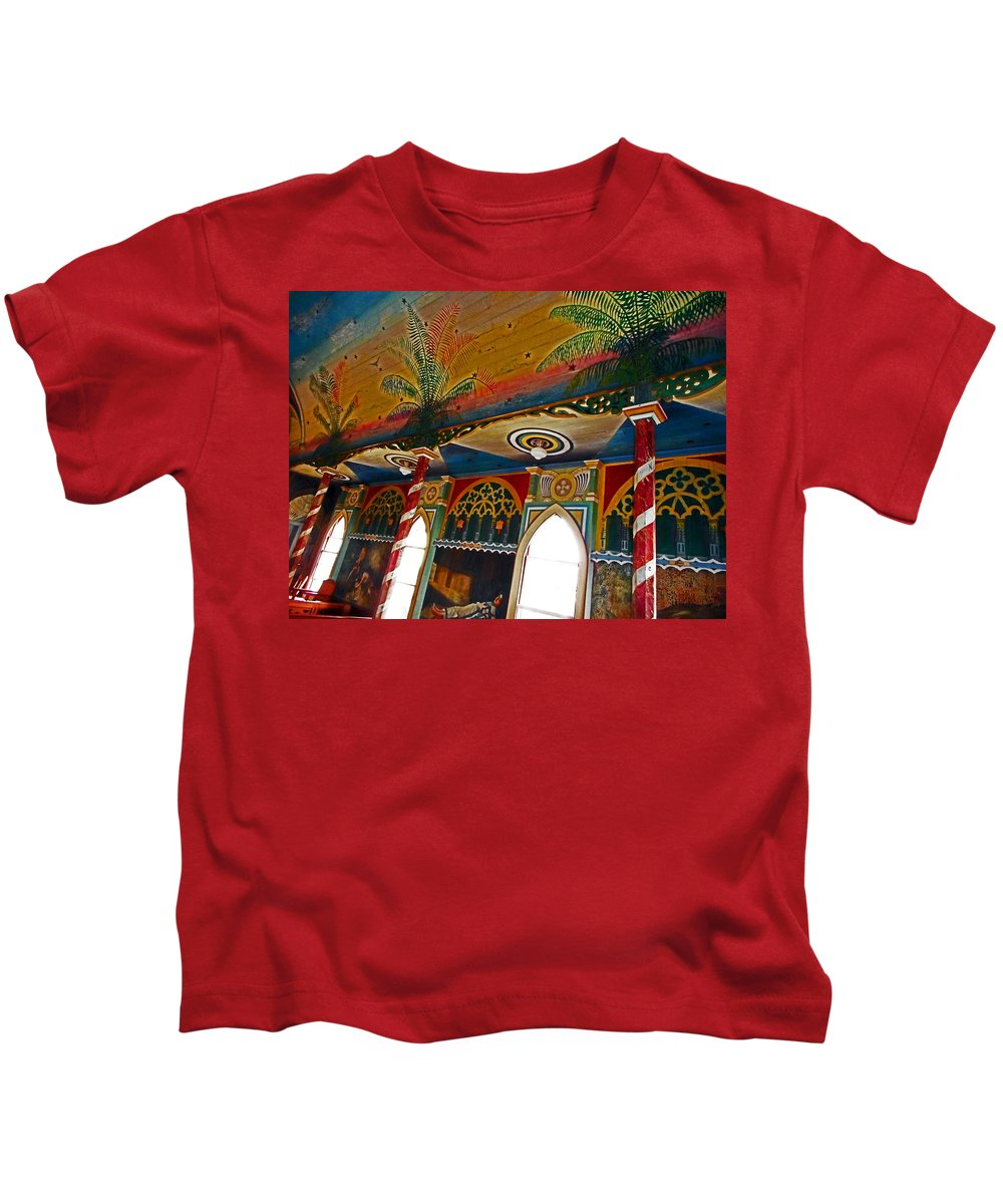 Kailua-kona Kids T-Shirt featuring the photograph St Benedicts Painted Church 11 by Ron Kandt