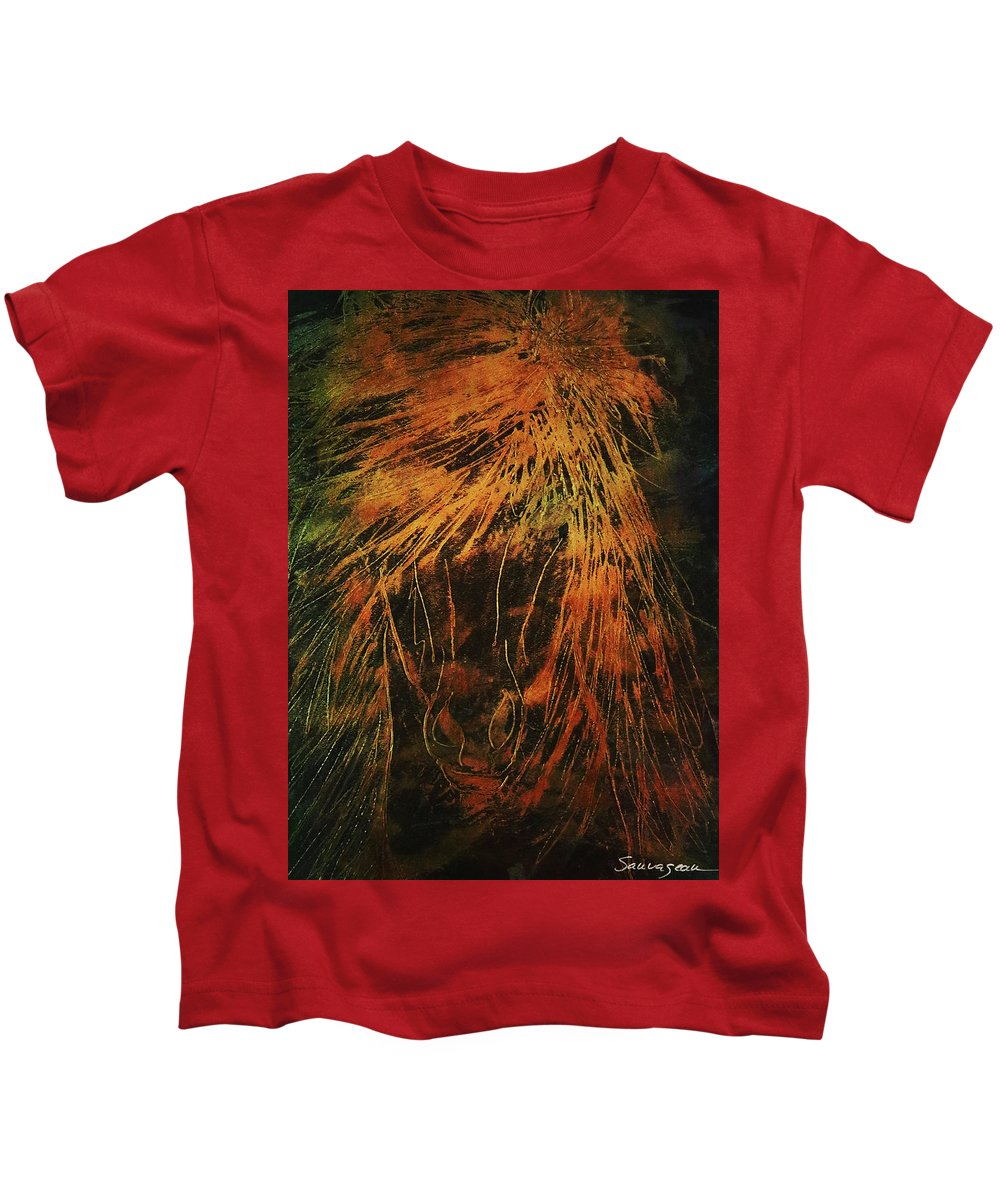 Sheila Sauvageau Kids T-Shirt featuring the painting Stallion Metallic Gold by Sheila Sauvageau