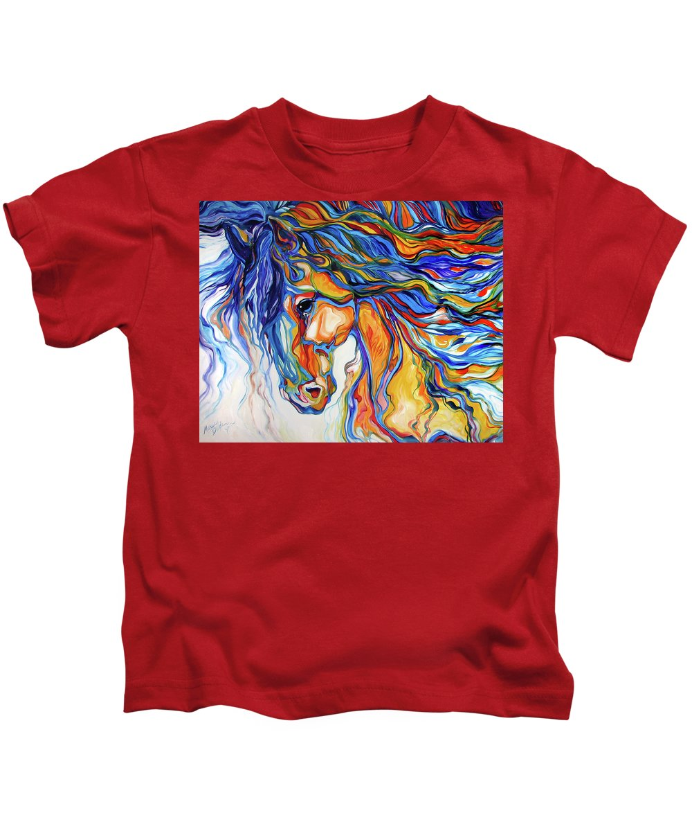 Equine Kids T-Shirt featuring the painting STALLION SOUTHWEST by M BALDWIN by Marcia Baldwin