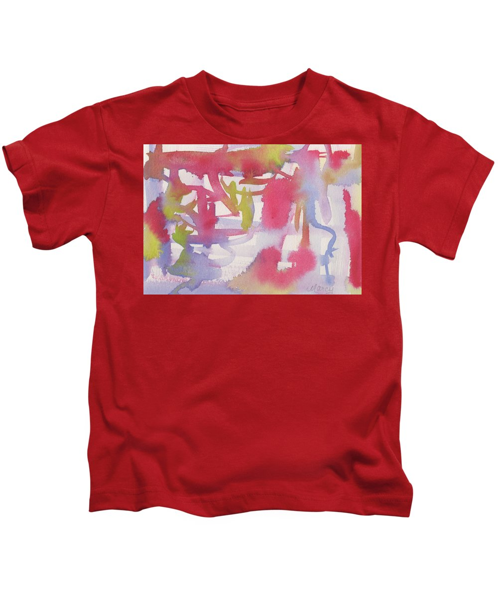 Red Kids T-Shirt featuring the painting Star Spangled by Marcy Brennan