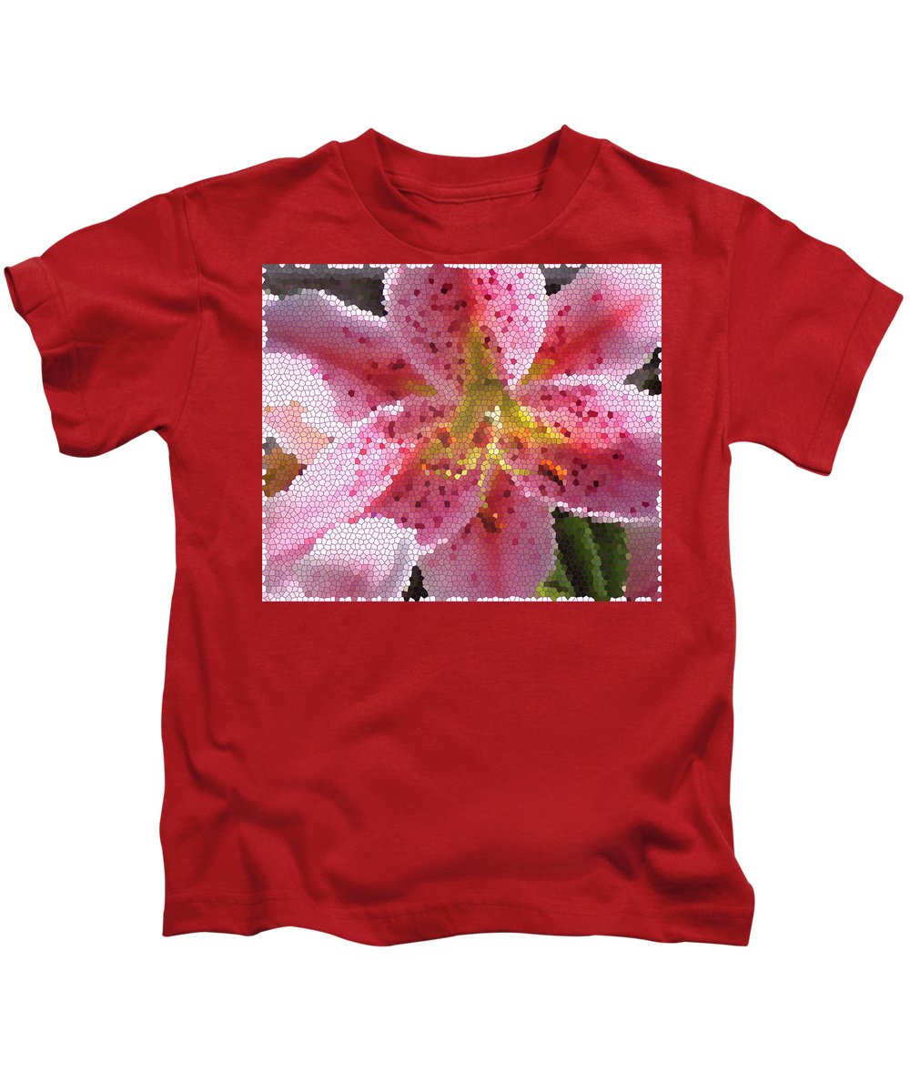 Digital Art Kids T-Shirt featuring the digital art Stargazer Stained Glass by Barbara Griffin
