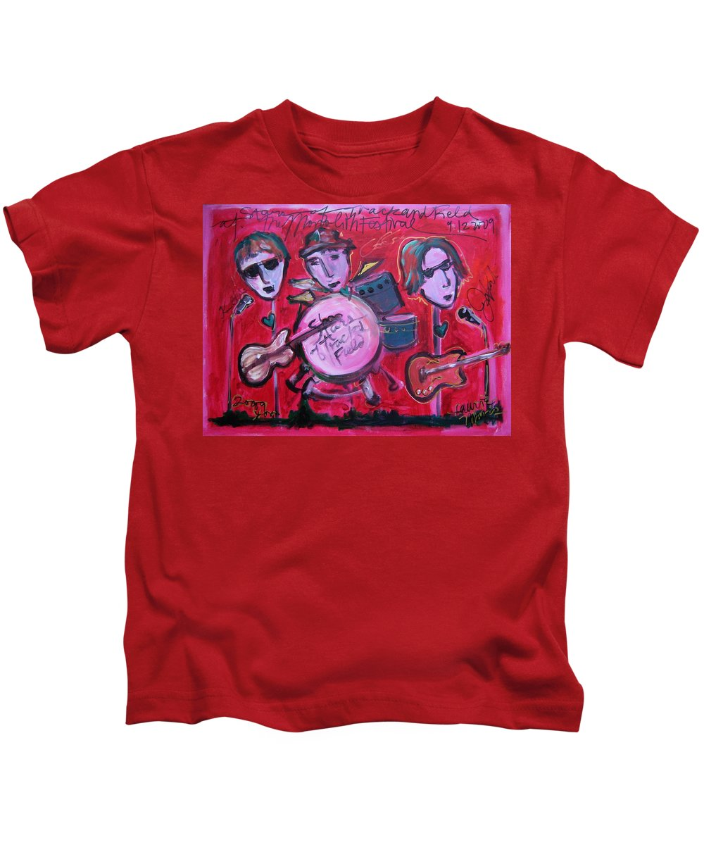 Red Kids T-Shirt featuring the painting Stars Of Track And Field At Monolith by Laurie Maves ART