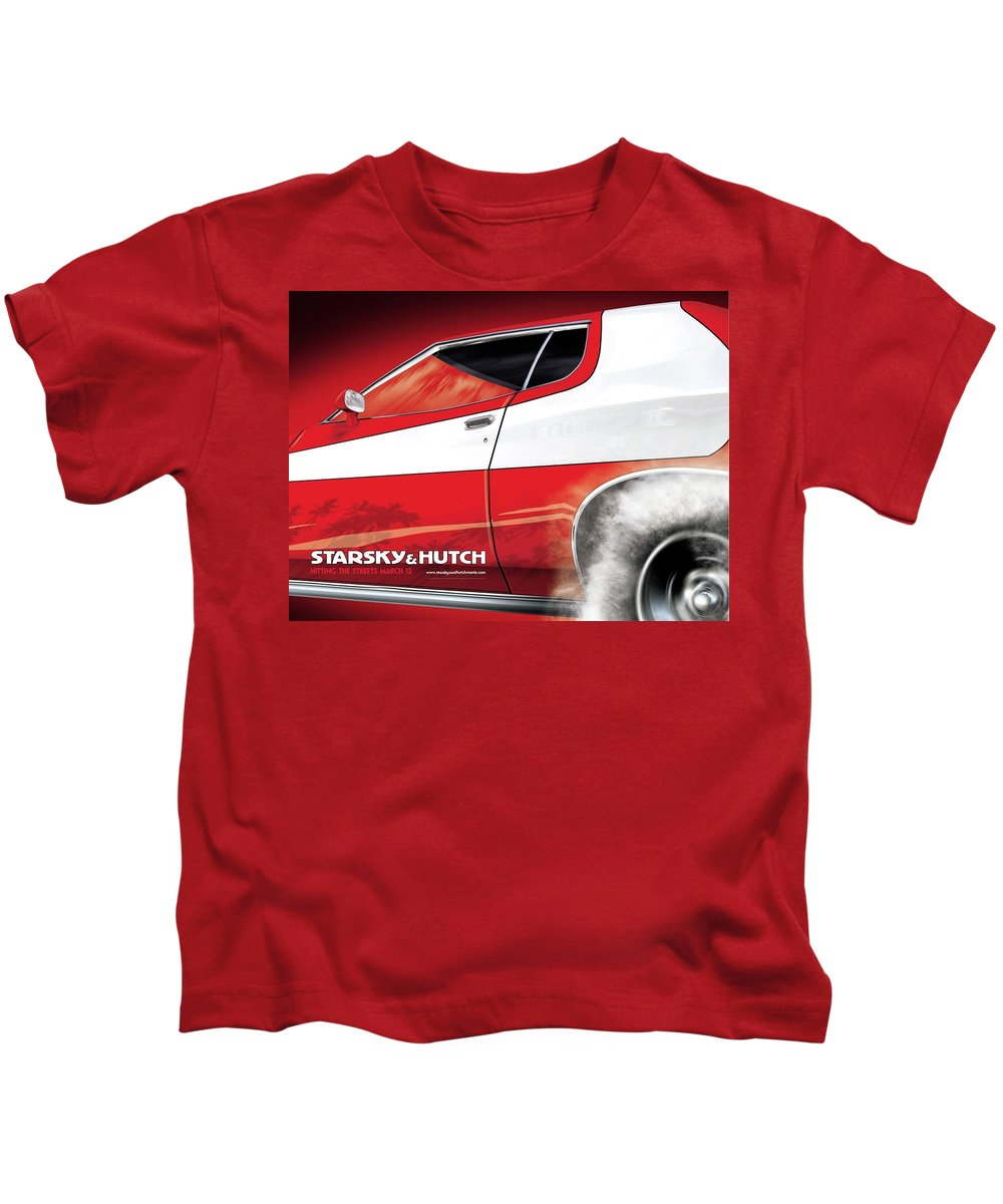 Starsky And Hutch Kids T-Shirt featuring the digital art Starsky And Hutch by Dorothy Binder
