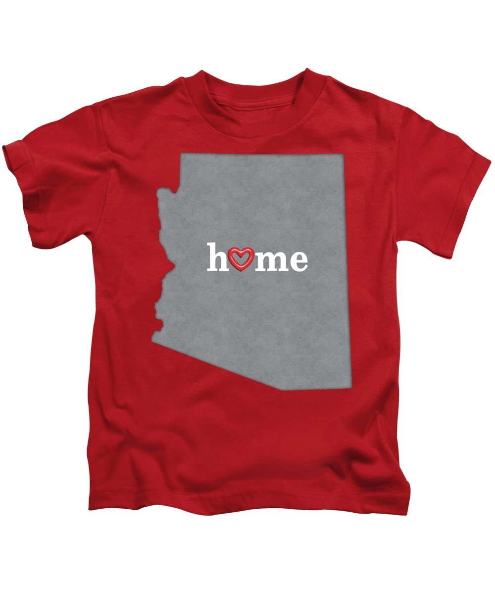 Arizona Kids T-Shirt featuring the painting State Map Outline Arizona With Heart In Home by Elaine Plesser
