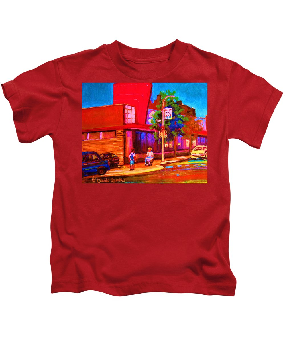 Steinbergs Kids T-Shirt featuring the painting Steinbergs Supermarket by Carole Spandau