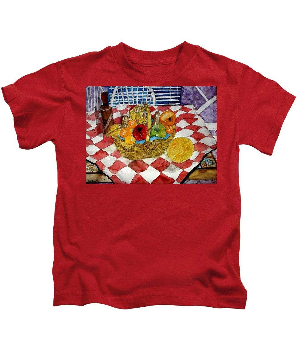 Still Life Watercolor Kids T-Shirt featuring the painting Still Life Art Fruit Basket 3 by Derek Mccrea