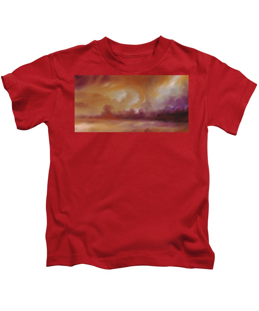 Tempest Kids T-Shirt featuring the painting Storm Clouds 2 by James Christopher Hill