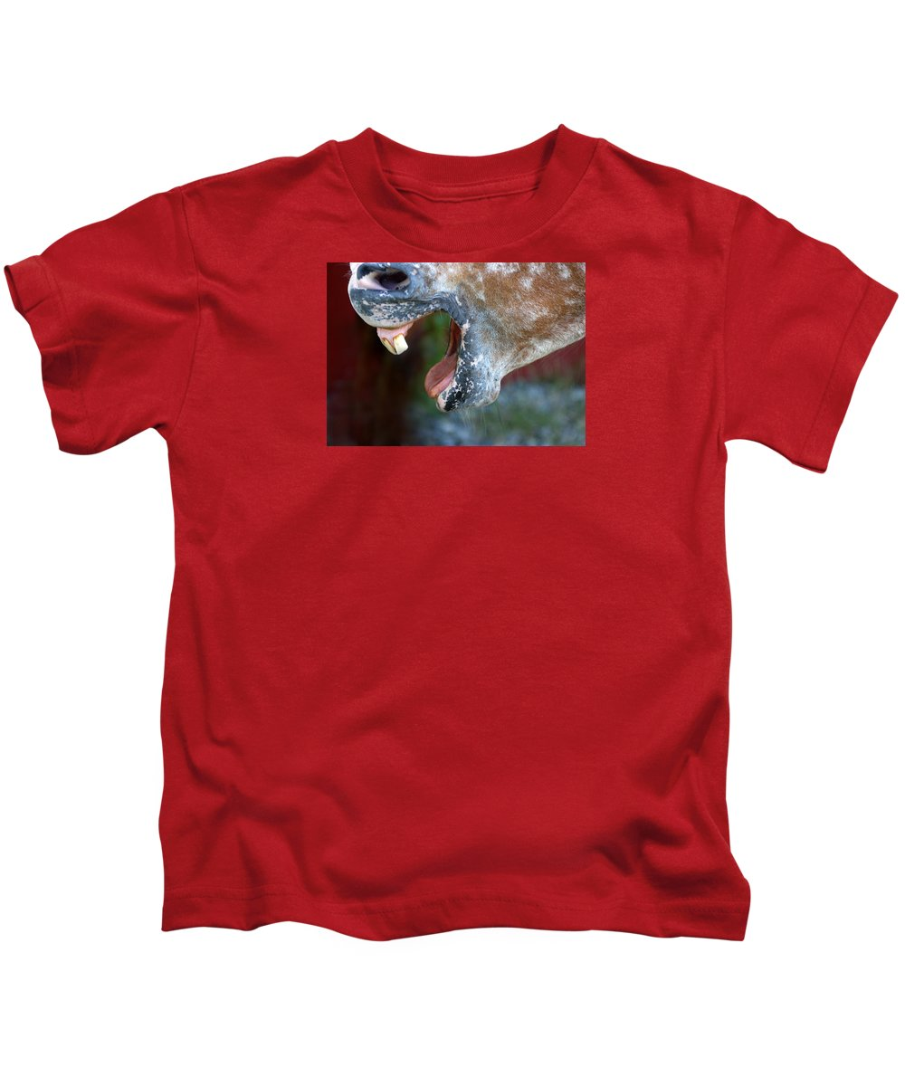 Horse Kids T-Shirt featuring the photograph Straight From The Horse's Mouth by Frederica Georgia