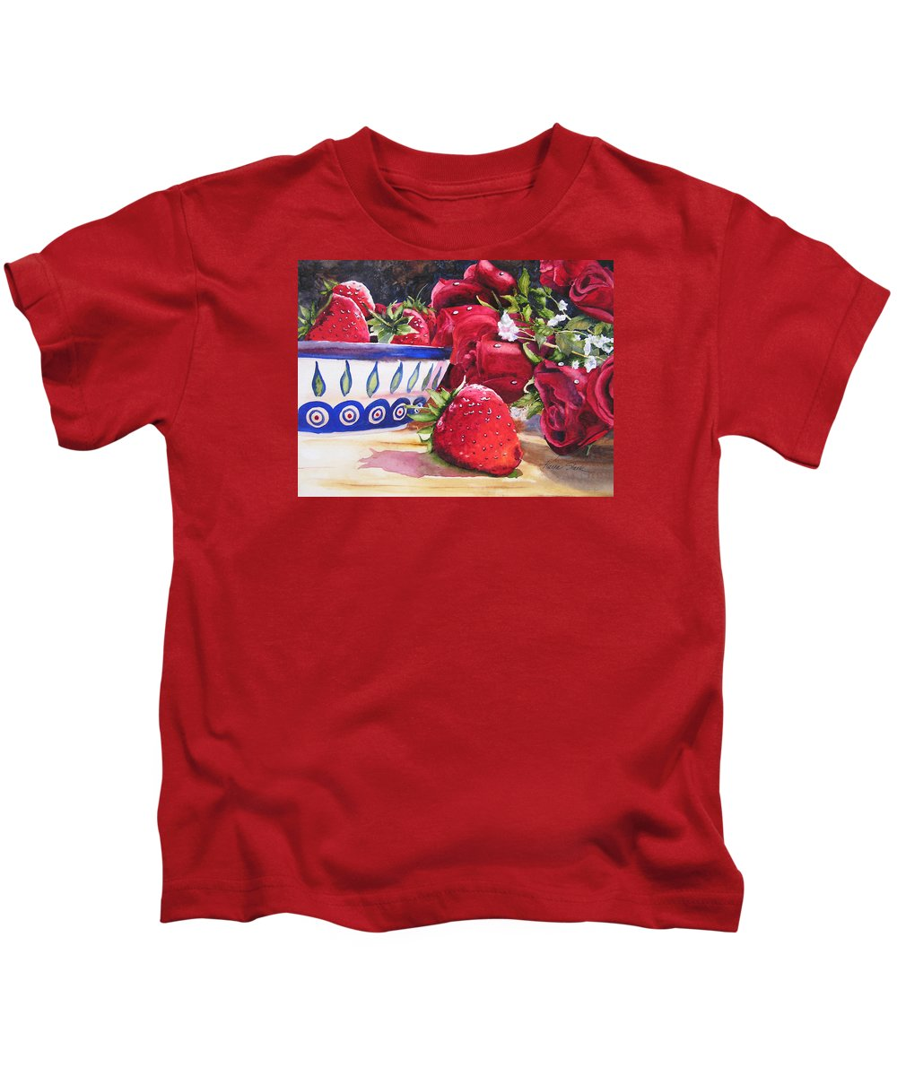 Strawberries Kids T-Shirt featuring the painting Strawberries And Roses by Karen Stark