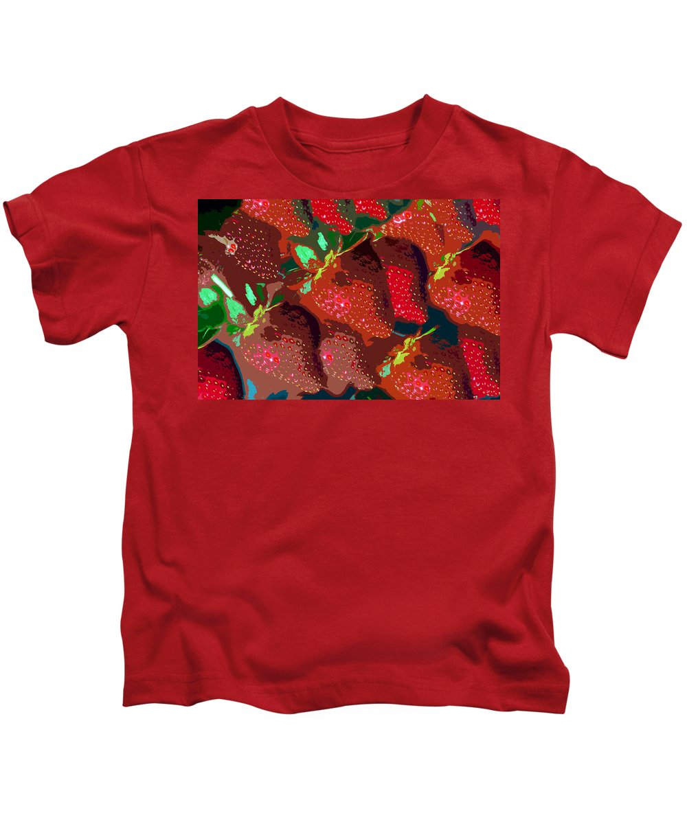 Strawberry Kids T-Shirt featuring the painting Strawberry Fields Forever by David Lee Thompson