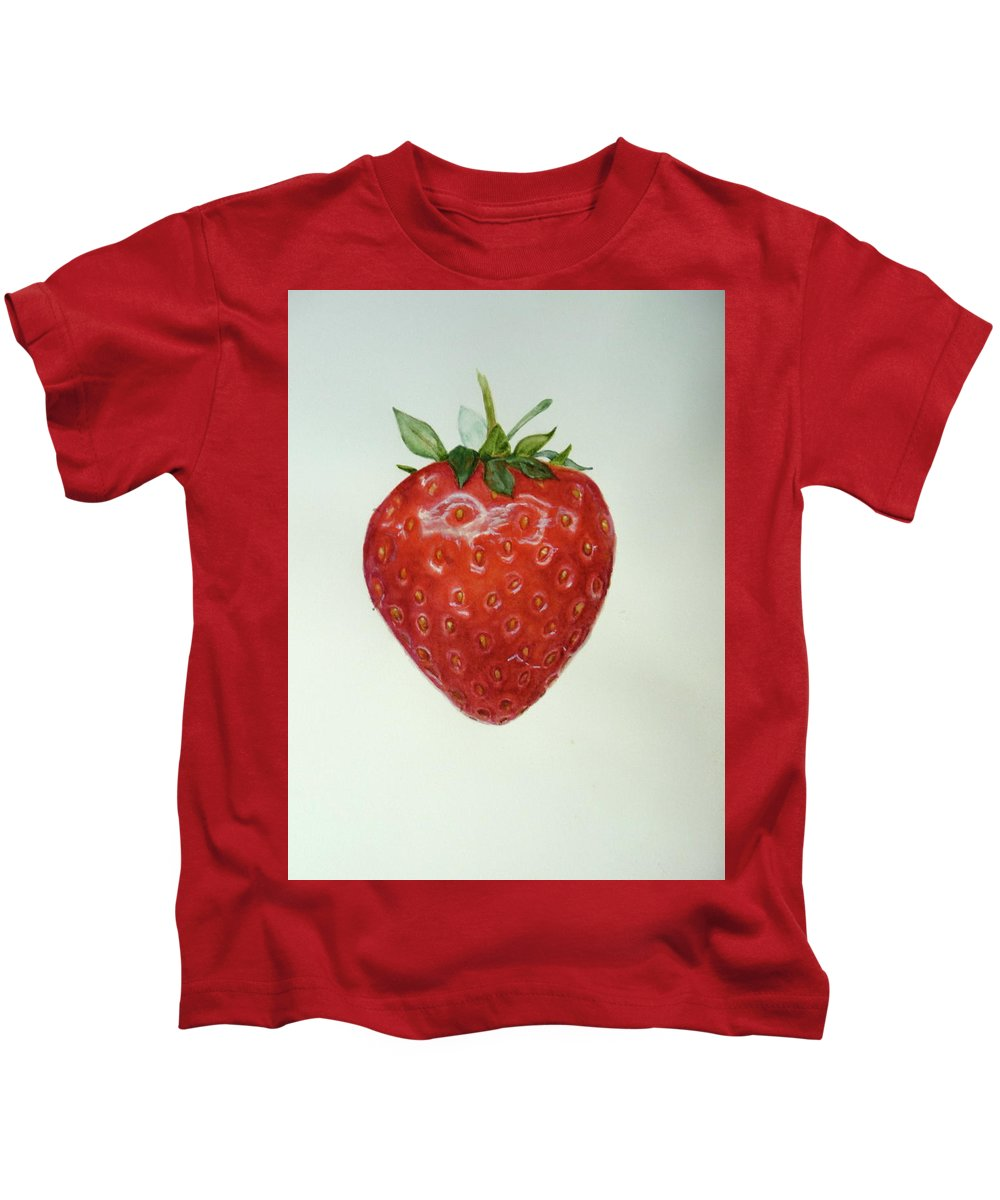 Strawberry Kids T-Shirt featuring the painting Strawberry by Renate Schliesmann