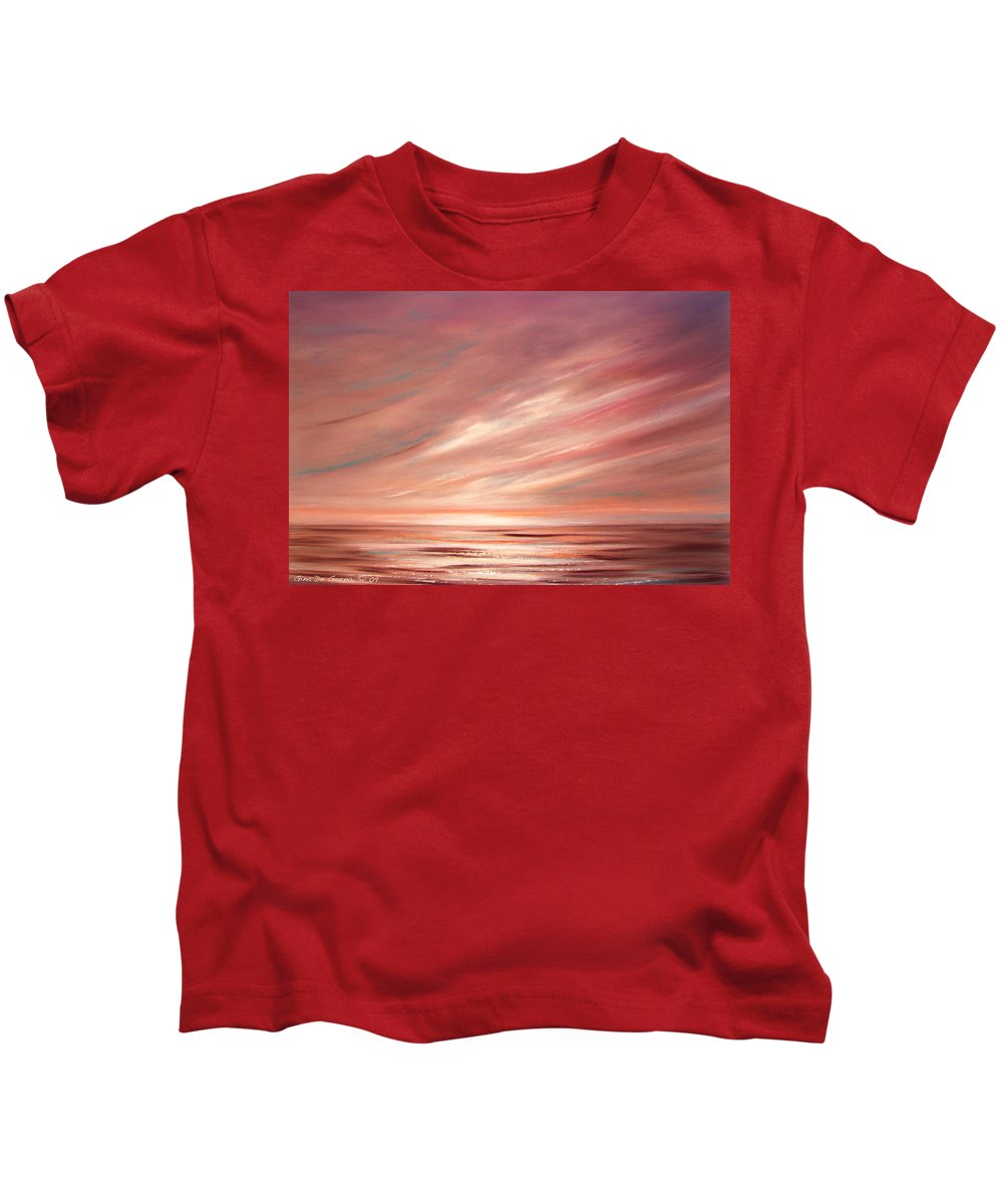 Sunset Kids T-Shirt featuring the painting Strawberry Sky Sunset by Gina De Gorna