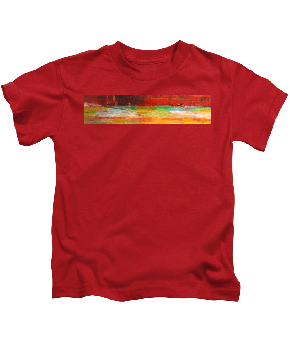 Abstract Kids T-Shirt featuring the painting Stretching Land by Habib Ayat