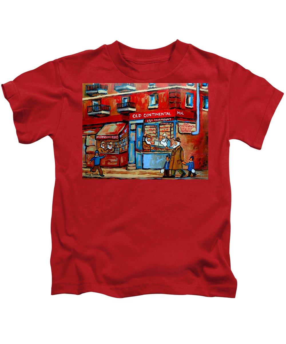 Old Continental On Fairmount Kids T-Shirt featuring the painting Strictly Kosher by Carole Spandau