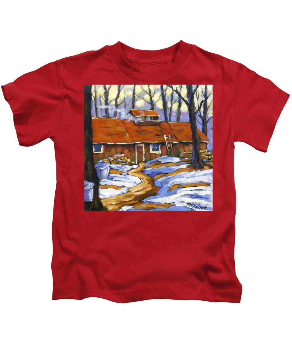 Sugar Shack Kids T-Shirt featuring the painting Sugar Time by Richard T Pranke