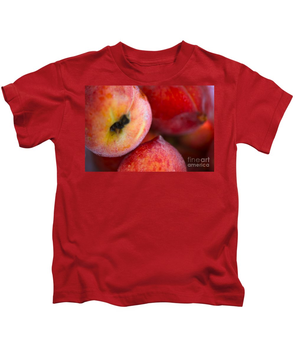 Peach Kids T-Shirt featuring the photograph Summer Peaches by Nadine Rippelmeyer