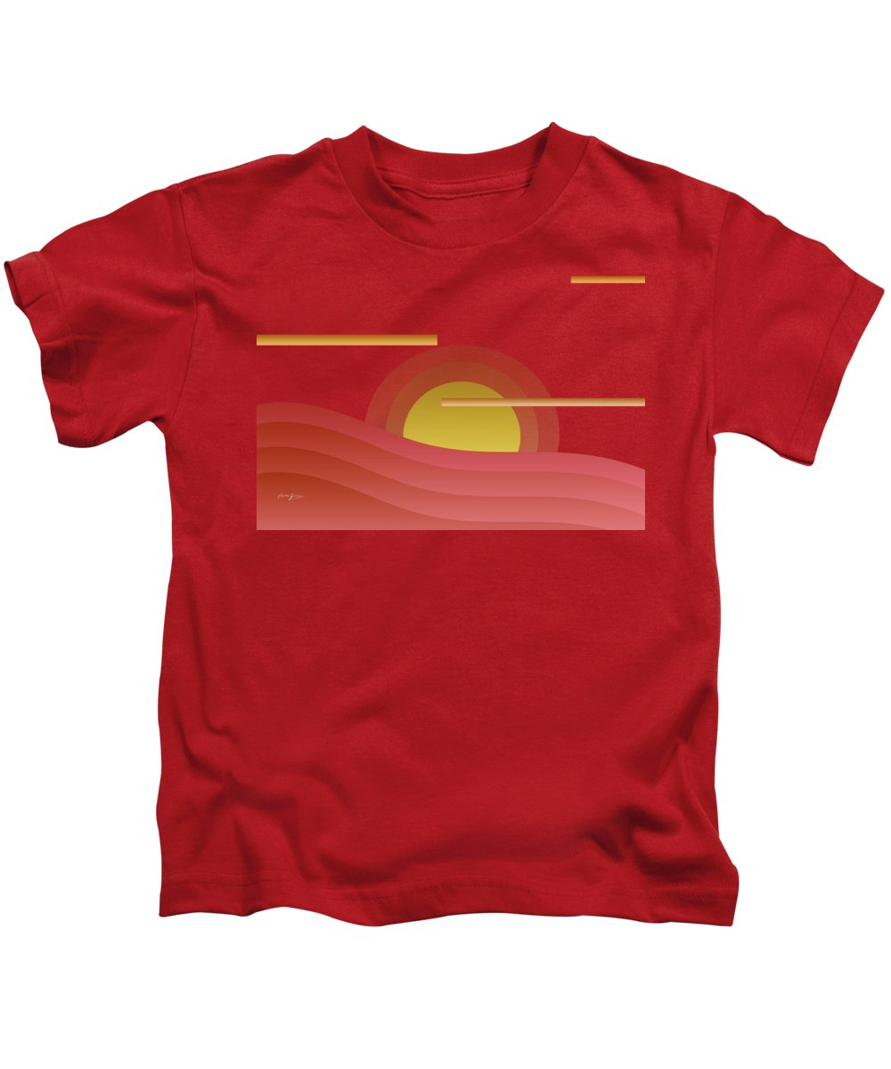 Abstract Kids T-Shirt featuring the painting Summer Sunset by Laura Greco
