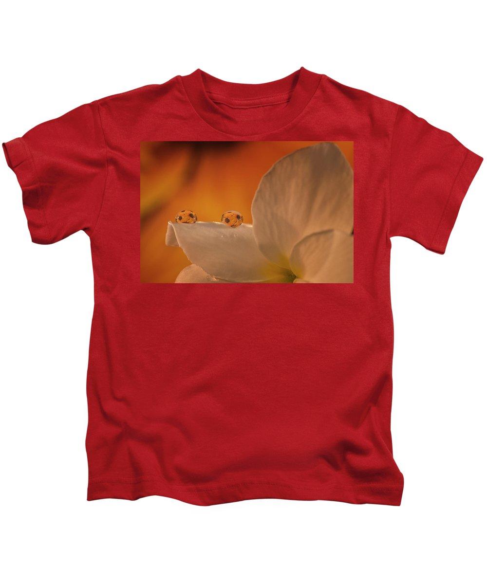 Kids T-Shirt featuring the photograph Sunflower On White Flower by Gabriel Jardim