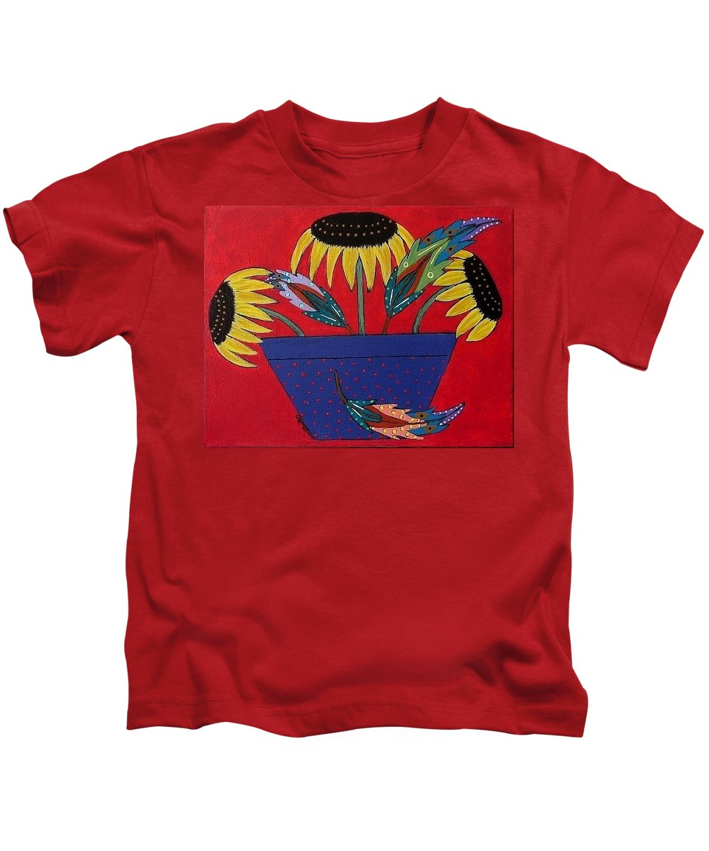 Sunflower Kids T-Shirt featuring the painting Sunflowers And Feathers by Linda Stewart