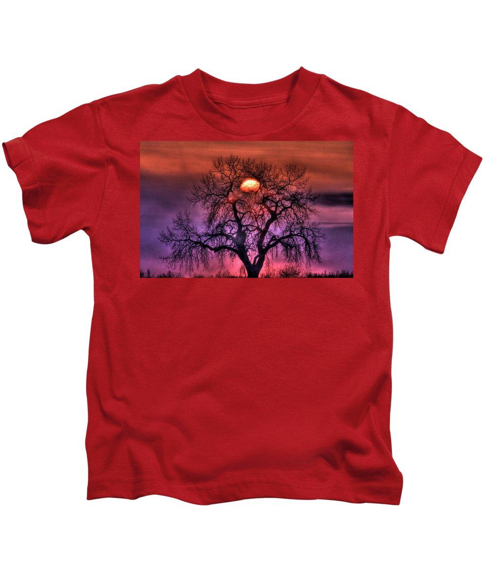 Sunrise Kids T-Shirt featuring the photograph Sunrise Through The Foggy Tree by Scott Mahon
