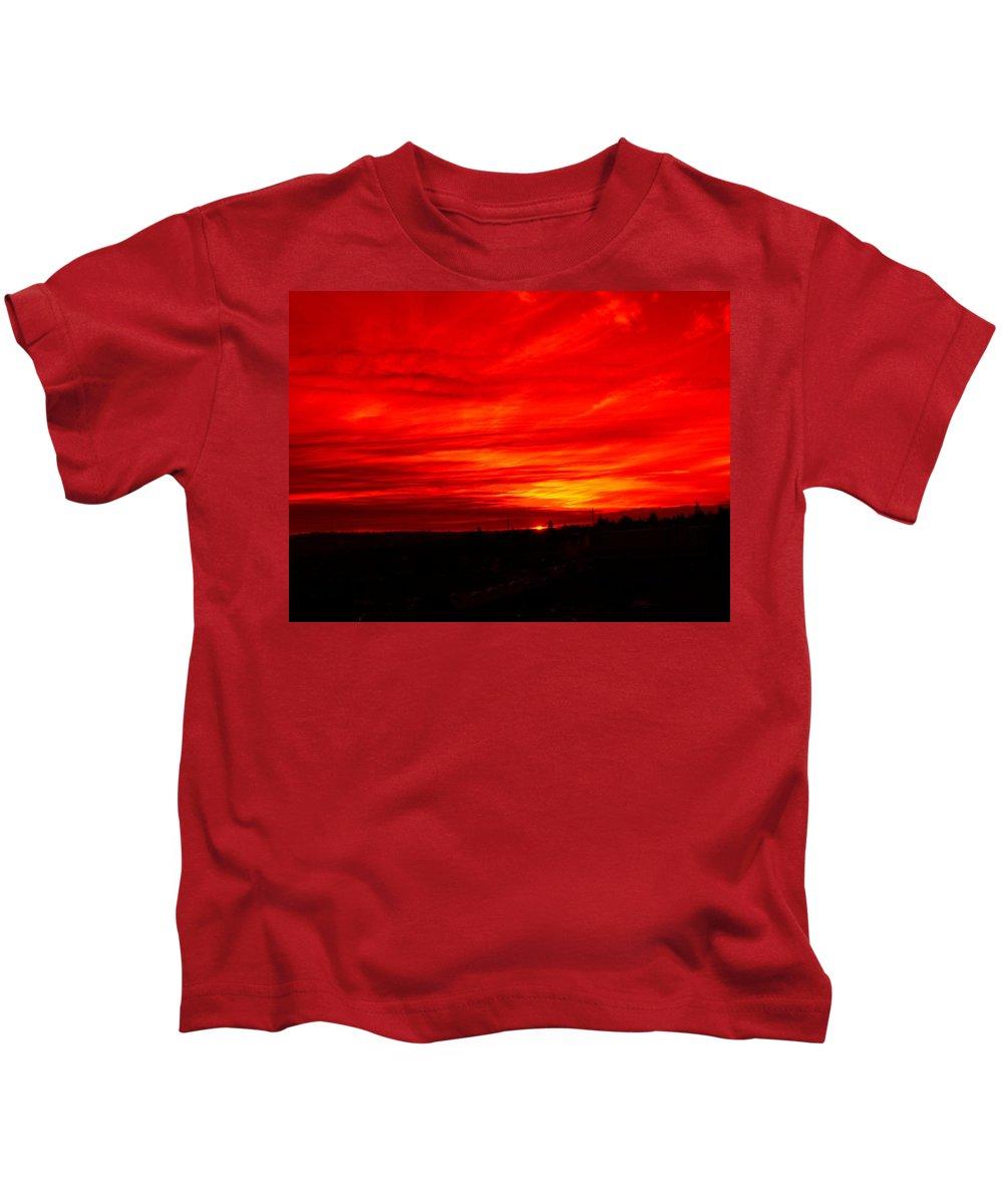 Seattle Kids T-Shirt featuring the digital art Sunset 2 by Tim Allen