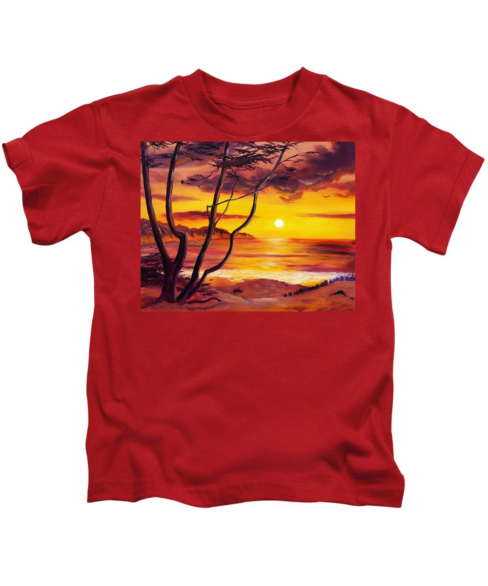 Oil Painting Kids T-Shirt featuring the painting Sunset From A Carmel Cypress Tree by Laura Iverson