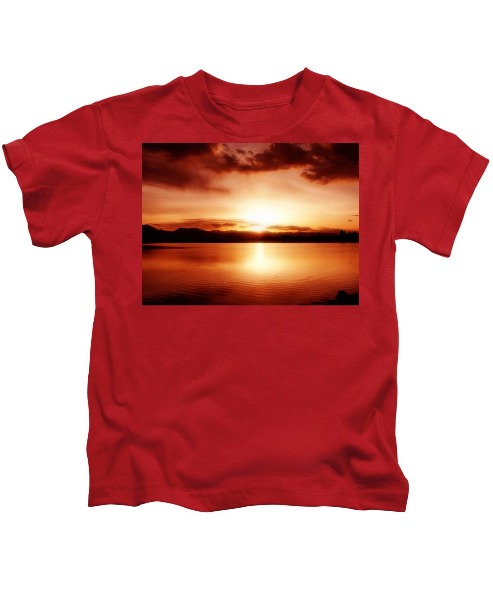 Lake Kids T-Shirt featuring the photograph Sunset by Marilyn Hunt